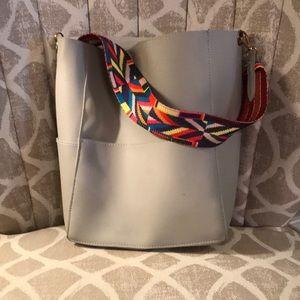 Gray bucket purse